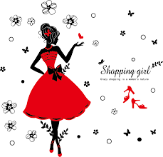 Shopping For Home Decor Fashion Shopping Lady Wall Sticker For Home Decor Xl6039 U2013 Chacopin