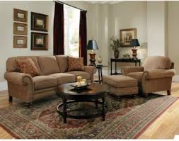 Broyhill Larissa 3 Piece Sofa And Chair With Ottoman Set In Tan
