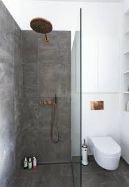 Scandinavian Shower Curtain by Scandinavian Minimalist Bathroom With Copper Fixtures Photo
