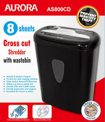 Home Paper Shredders by Aurora As800cd Cross Cut Paper Shredder With 8 Sheet Capacity And