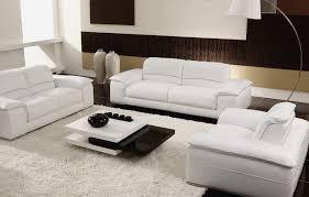 Modern WhiteBlack Living Room Set Baccardi Slick Furniture - White leather living room set