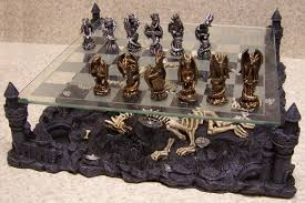 chess set with glass board themed polyresin platform pewter