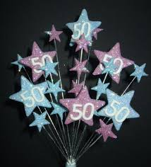 50th cake topper age 50th birthday cake topper decoration in pale blue lilac