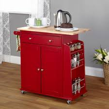 impressive red kitchen island on wheels with oak wood countertops