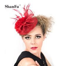 small fascinators for hair shanfu women small pillbox hat feather fascinators chiffon flower