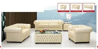 Italian Leather Sofa Set Esf Modern 258 Full Ivory Italian Leather Sofa Set Classic Look