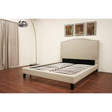 Modern Platform Bed Queen Aisling Cream Fabric Platform Bed Queen Size See White