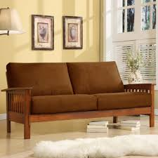 interesting chocolate gray oak wood microfiber mission style sofa