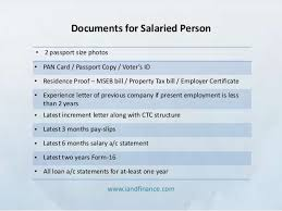 list of documents for home loan processing