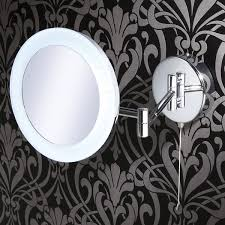 hib leo round led illuminated magnifying bathroom mirror with