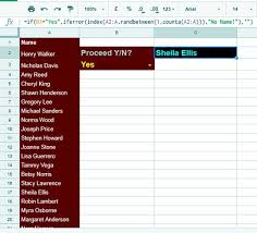 how to pick a random name from a long list in google sheets