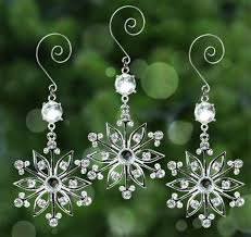 snowflake ornaments set of 3 sparkling and