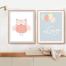 Owl Room Decor New Owl Love Balloon Canvas Painting Nursery Wall Art Little Room