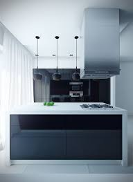 sleek modern kitchen island with black mini pendant lights and