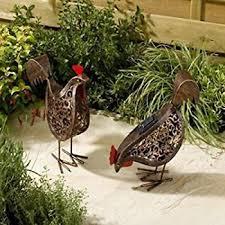 smart solar metal scroll hens ornamental solar garden lights