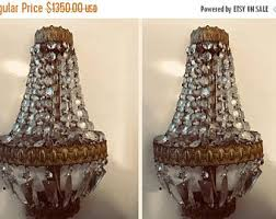 Vintage Crystal Sconces Empire Sconces Etsy