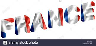 French Flag Pictures France 3d Lettering With French Flag Inset Into Facets Stock Photo