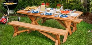Designs For Wooden Picnic Tables by 20 Free Picnic Table Plans Enjoy Outdoor Meals With Friends