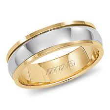 two tone wedding bands 14k two tone gold artcarved montgomery wedding band