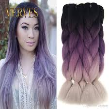 Color Hair Extension by Ombre Kanekalon Braiding Hair Braid 100g Piece Purple Gray High