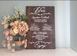 wedding menu sign drinks and bar menu rustic wood wedding sign