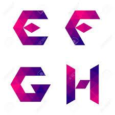 series de letras e f g h formada por triángulos de color forma