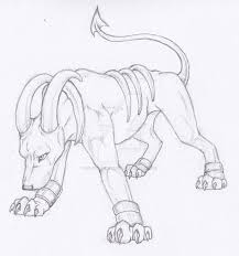 semi realistic pokemon houndoom by ice wolf elemental on deviantart
