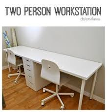 Ikea Office Desks Two Person Ikea Desk With Lerberg Trestle Legs And Karlby
