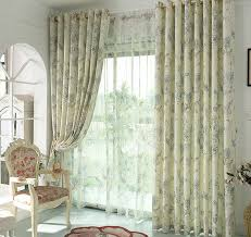 Classics Curtains Light Green Polyester Floral Pattern Linen Cotton Home Classics