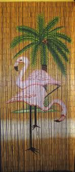 Painted Bamboo Curtains Bamboo Bead Curtain With Flamingo