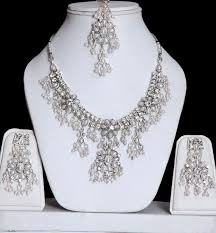 silver necklace from india images Pearl silver jewelry set with stones online shopping shop for jpg
