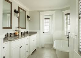 Cottage Bathrooms Pictures by Dreamy Ensuite Bath Features Gray Green Paint And White Beadboard