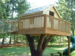 wooden tree house kits tree fort ladder gate roof finale back