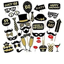 Photo Booth Prop Veewon 60th Birthday Party Photo Booth Props Unisex Funny 36pcs