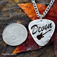 Custom Necklace Name Custom Guitar Pick Necklace Name Jewelry Big Pick Hand Cut And