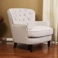 Tufted Chair And A Half White Tufted Arm Chairs Foter