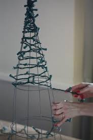 cheap christmas trees with lights 17 apart diy tomato cage christmas tree lights decorating ideas