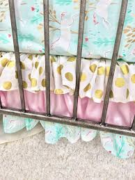 gold dot crib skirt baby pink crib bedding mint unicorn