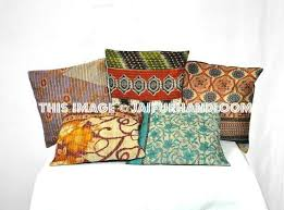 24x24 Decorative Pillows 24x24 Xl Set Of 5 Pillow Covers Vintage Kantha Throw Pillows For Couch
