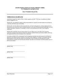 board resolution to terminate an employee template u0026 sample form