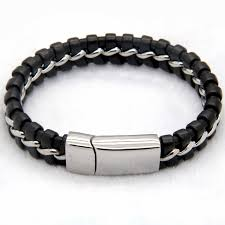 mens clasp bracelet images 316l stainless steel bracelet black leather knitted magnetic clasp jpg