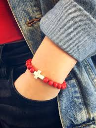 cross stone bracelet images Unisex love the lord red wooden bead and stone cross bracelet jpg