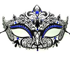 metal masquerade mask filigree crown masquerade mask with blue crystals