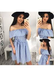 blue white striped ruffle sashes off shoulder casual mini dress