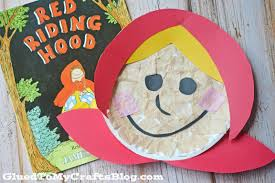 paper plate little red riding hood kid craft glued to my crafts