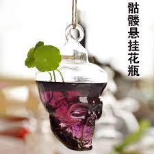 hanging skull vases transparent glass vase hydroponic flower