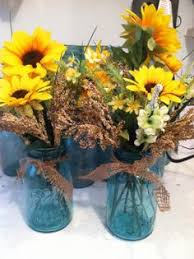 Centerpieces With Sunflowers by Sunflower Mason Jar Painted Mason Jar Rustic Wedding Decorated