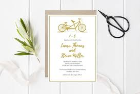 Printable Wedding Invitations Tandem Bike Wedding Invitation Template Gold Bicycle Invitations