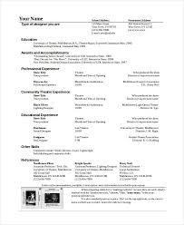 theatrical resume template theatrical resume template all best cv resume ideas