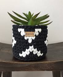 aztec design crochet basket small basket bin plant pot cover